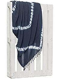 Montse Interiors Toalla Pareo Playa Reversible Tejida (Blue-3)