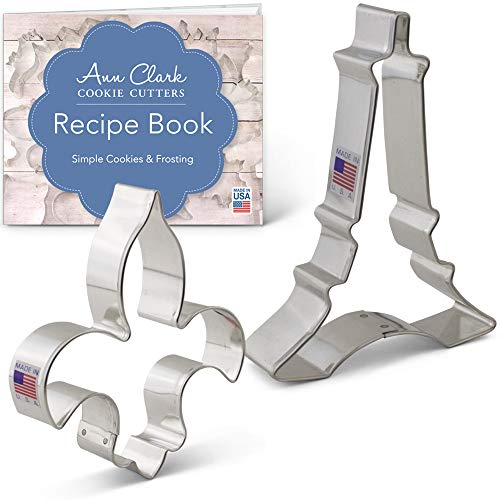 Vive La France Ausstechformen-Set mit Rezeptheft - 2-teilig, Eiffelturm und Fleur de Lis - Ann Clark - aus den USA hergestellter Stahl Fleur De Lis-cookie-cutter