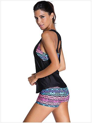 Fortuning's JDS Le donne hanno riempito i vestiti bagnantesi stabiliti di Tankini Swimsuit delle 3 parti multicolore