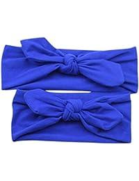 Diademas para bebé y madre, Sannysis 2PCS Joyas para el pelo Conejo arco Hairband (Azul)