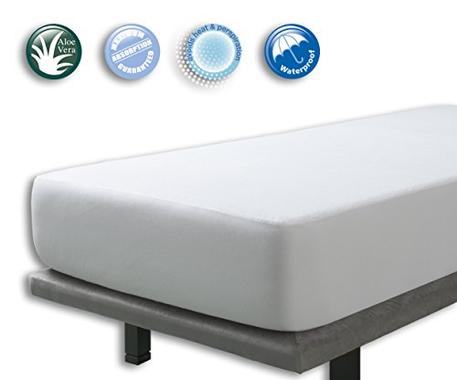 VELFONT – Matratzenschoner/Matratzenauflage Aloe Vera, Wasserdicht und Atmungsaktiv – Verfügbar in verschiedenen Größen - 140x190/200cm (Reißverschluss-band -)