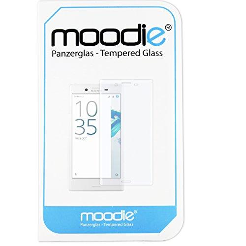 moodie Panzerglas 3D Folie für Sony Xperia X Compact - Premium Glasfolie für Gewölbte Displays Full Screen 3D Panzerglasfolie Curved vollständige Display Abdeckung