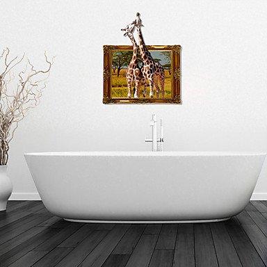 Lozse 3D-Wandaufkleber Wandtattoo, küssen Giraffen Bad Dekorwand PVC Wandaufkleber