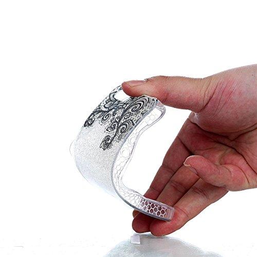 Coque Pour Iphone 5/5S/SE, SKYXD Housse Transparente Bling Paillette Bumper TPU Étui[Chat et Oeufs] Premium Flexible SILICONE Protection Clair Back Case + Anti-Poussière Plug + Stylo Noir Dentelle