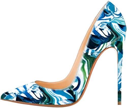 Calaier Mujer Caexpensive Tacón De Aguja 12CM Sintético Ponerse Zapatos de tacón