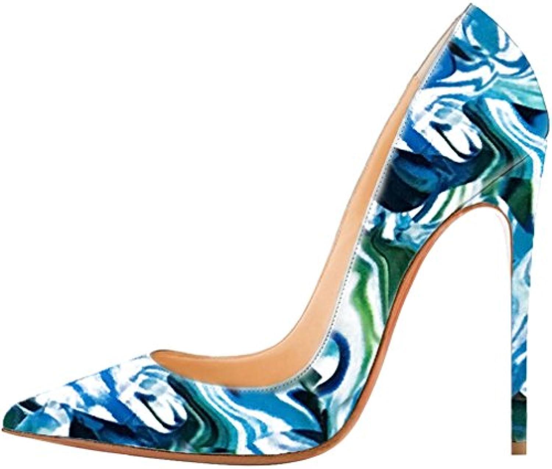 Calaier Mujer Caexpensive Tacón De Aguja 12CM Sintético Ponerse Zapatos de tacón -