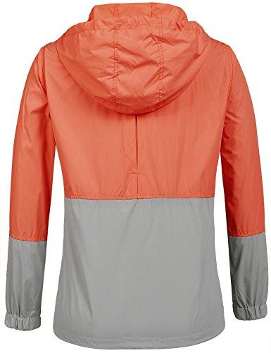 Damen Jacke Windbreaker Übergangsjacke Wasserabweisend Regenmantel Regenjacke mit Kapuze in 14 Farben Orange