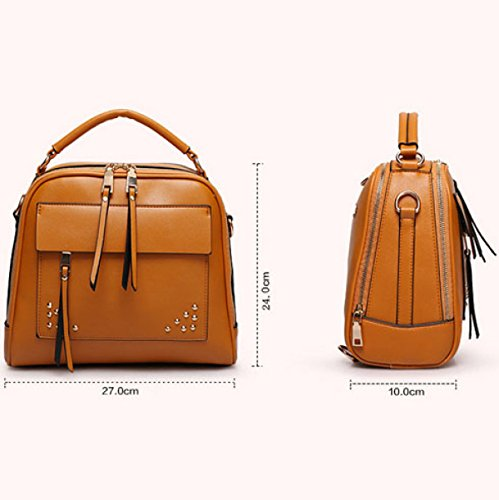 Koreanische Version Damen Nieten Mehrzweck Schultern Schulter Messenger Handtasche,RedWine LightBrown
