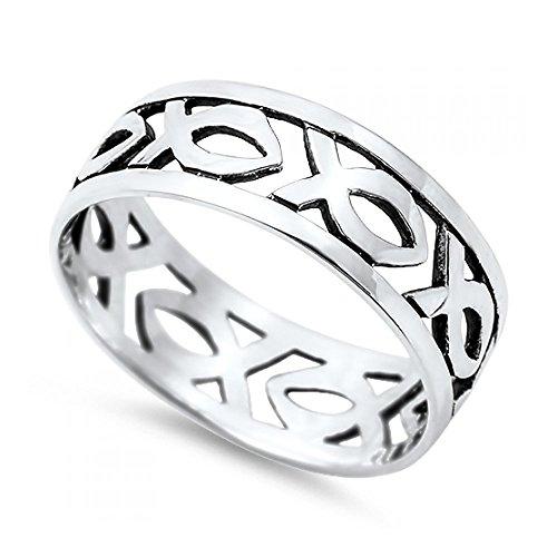 Ring aus Sterlingsilber - christlicher Fisch