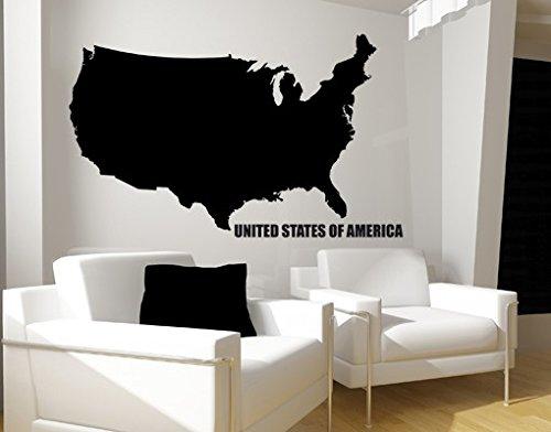 Wandtattoo No.KP104 USA USA land Amerika karte kontinent, Farbe:Grau;Größe:55cm x 90cm