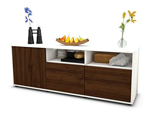 Stil.Zeit Möbel TV Schrank Lowboard Angelina, Korpus in Weiss matt/Front im Holz Design Walnuss (135x49x35cm), mit Push to Open Technik, Made in Germany