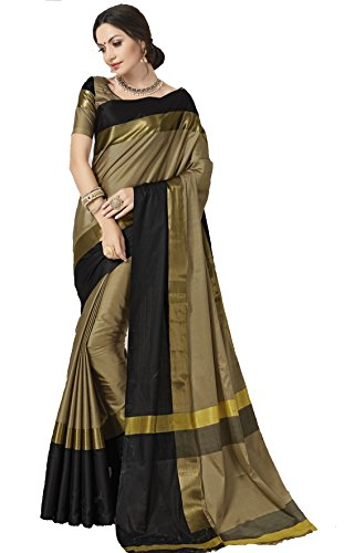 Indian Beauty Women's with Blouse Piece Silk Saree(1024-1_Black and Gold_Free)