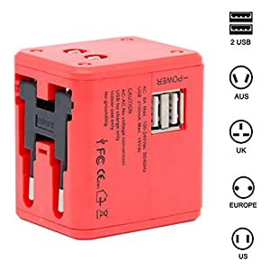 Spartan Universal Adapter Worldwide Travel Adapter with Built in Dual USB Charger Port (Red)