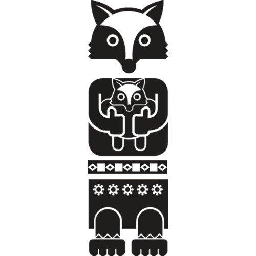 Set di adesivi Totem Fox, nero