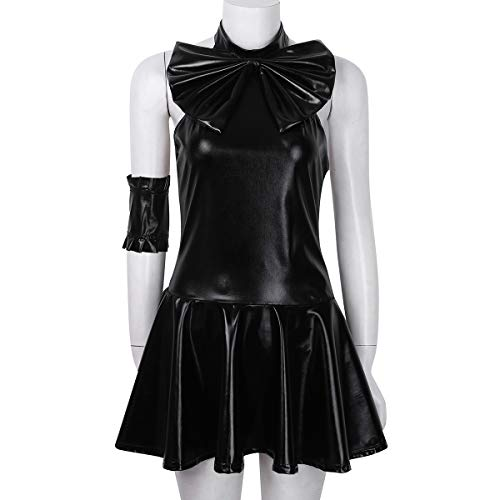 c92995d5ca4c9 Freebily Womens 5 Piece Wet Look Faux Leather Sailor Moon Mini Fancy Dress  Cosplay Costume Black