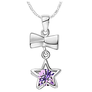Onefeart White Gold Plated Pendant Necklace Women Girls Purple Crystal Rosette Star Necklace 45CMx24X10MM