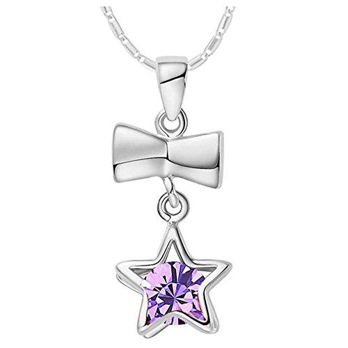 Onefeart Weiß Vergoldet Anhänger Halskette für Frauen Mädchen Lila Kristall Rosette Star Halskette 45cmX24X10MM