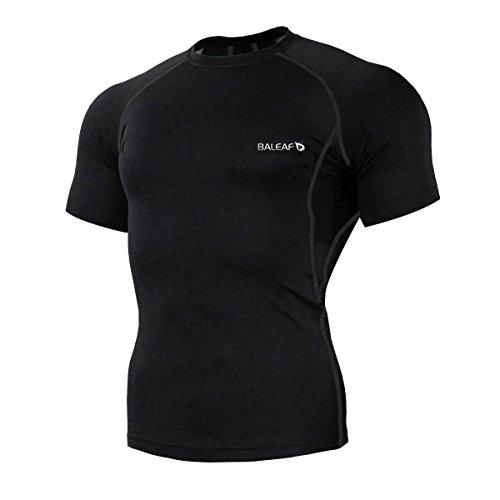 Feuchtigkeit Wicking Ärmellos (Baleaf Herren Cool Fitness Kompression Shirts Kurzarm Schwarz Größe L)