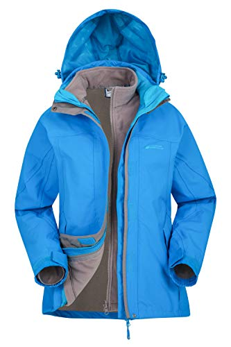Mountain Warehouse Storm 3 in 1 Womens Waterproof Jacket - Multiple Pockets, Detachable Fleece Ladies Coat, Rain Jacket - Ideal Autumn Outer for Walking, Hiking Turquoise 16