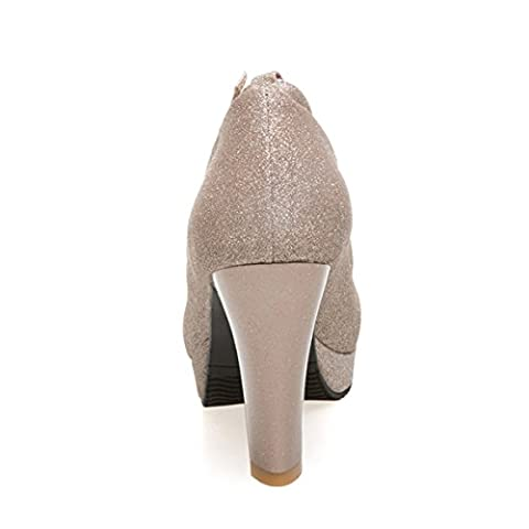 CHNHIRA Women's Summer Bright Court Shoes Block High Heel Metal Chain Tassel(Gold 4 UK)