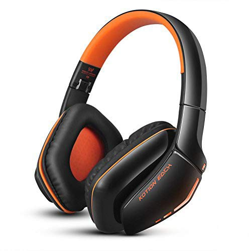Bluetooth 4.1 Kopfhörer/Headset wireless faltbar Over-Ear mit Mic-KOTION EACH B3506 |PC Handy PS4(inkl.Line-in Kabel)|Orange - Wireless Mic Wired-oder