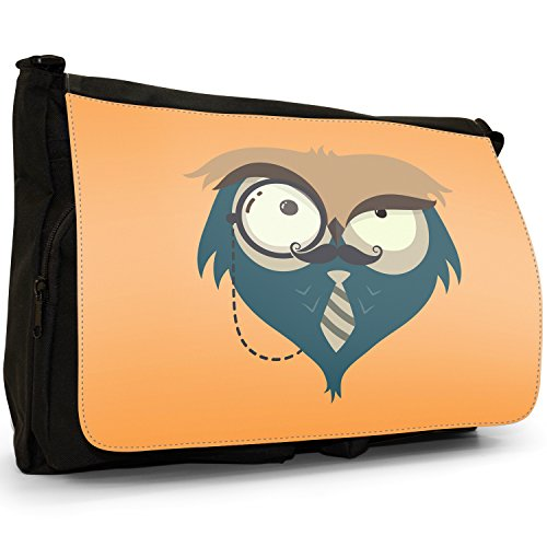 Fun Funky Awesome Wise, motivo: gufi, colore: nero, Borsa Messenger-Borsa a tracolla in tela, borsa per Laptop, scuola Nero (Monocle Wearing Moustache Owl)