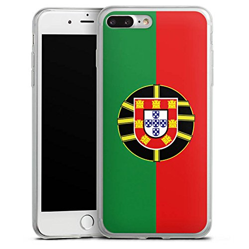 Apple iPhone 8 Plus Slim Case Silikon Hülle Schutzhülle Portugal Flagge Fußball Silikon Slim Case transparent