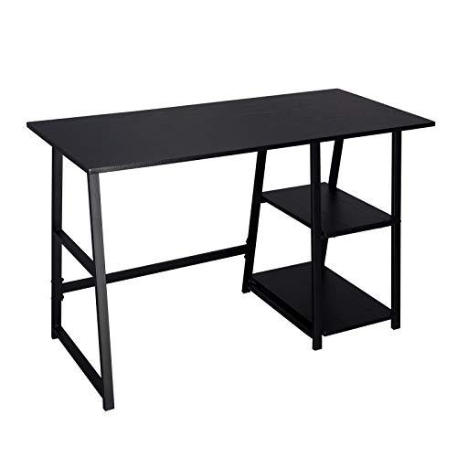 WOLTU® Schreibtisch TSG25sz Computertisch Bürotisch Arbeitstisch PC Laptop Tisch, mit 2 Ablagen, aus MDF und Stahl, 120x50x73cm(BxTxH) -