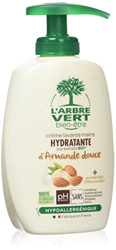 L'arbre vert Bien-être Crème Lavant Mains Amande Bio aux Bienfaits d'Aloé Vera Bio/Extraits d'Amande Douce Bio - Pack de 6