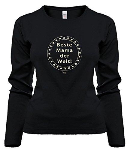 Langarmshirt T-Shirt Beste Mama der Welt Geschenk Weihnachten Geburtstag Muttertag Baumwolle Schwarz S M L XL Schwarz