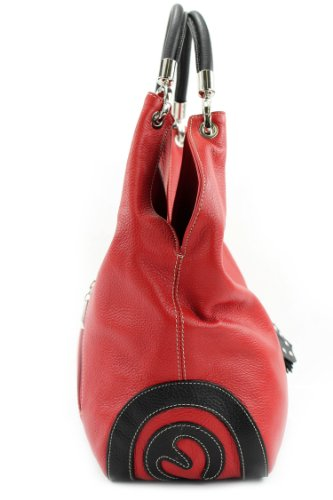 modamoda de - ital. Ledertasche Handtasche Shopper Damentasche Schultertasche Leder 330 Rot/Schwarz