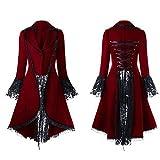 Malloom-Bekleidung Damen Steampunk Gothic Long Coat,Mantel Retro SAMT-Frack Jacke Barock Punk Steampunk Vintage Viktorianischen Langer Kostüm Cosplay Kostüm Smoking Uniform