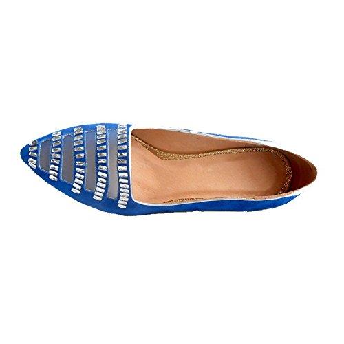 AgooLar Femme Tire à Talon Bas Suédé Mosaïque Pointu Chaussures Légeres Bleu