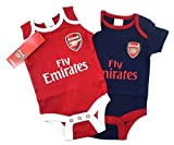 Official Arsenal Football Club New Season Home & Away Kit Twin Pack Bodysuit Baby Grows Size 0-3 Months