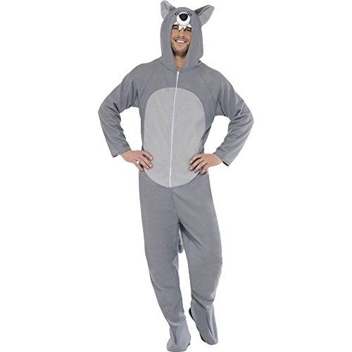 Smiffys Unisex Kostüm Grauer Wolf Wolfkostüm Karneval Fasching Gr.L