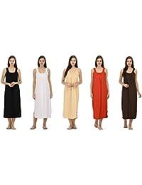 Ishita Fashions Cotton Gown Slip - Cotton Nighty - 5 PCs - Black, White, Skin, Red and Coffee Brown