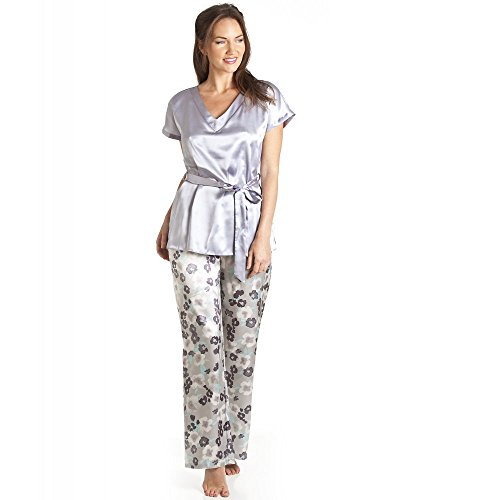 Pyjama en satin - haut manches courtes et pantalon - motif floral - gris Gris