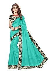 Bhuwal Fashion Womans chanderi silk kalamkari saree with Blouse (sky)