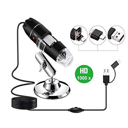 B HD Kinder Kamera 1000 X Vergrößerung Magnification Mit 8-LEDs Microscope Ständer Für Android IOS Fauay ()