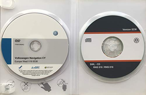 Pack DVD-ROM Volkswagen Navigation CY Europe West V16 + Firmware VW 5238. Update DVD Maps RNS510 / RNS810 (Navigations-update Cd)