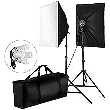 BPS 1520W Kit Softbox Iluminación Continua Estudio Fotografía - Kit con 2x Portalámpara(4 en 1) / 2x Softbox (50x70cm) / 2x Soporte de luz / 8x Bombillas / Bolsa de Transporte – Ventana de Luz de Estudio Fotográfico Profesional para Vídeo y Retrato