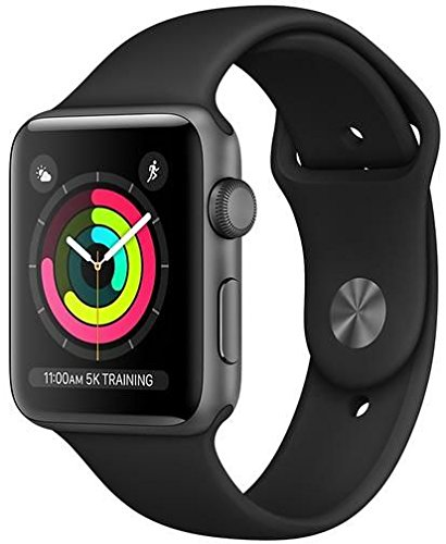 Apple Watch 3 42mm Aluminum watchOS - Apple Watch Series 3-42mm Space Gray Aluminum Case with Black Sport Band, GPS, watchOS 4, MQL12