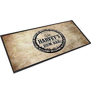 Artylicious Personalised Rum bar grunge Black bar mat runner counter mat