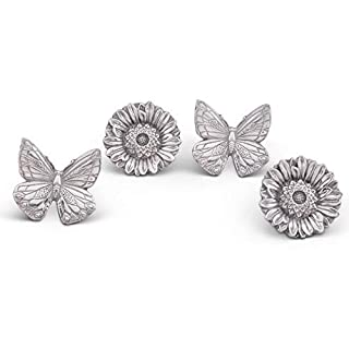 Arthur Court Aluminum Butterflies and Flowers Napkin Ring Set of 4; Pair of Butterflies and Pair of Flowers; 3 Inches Tall
