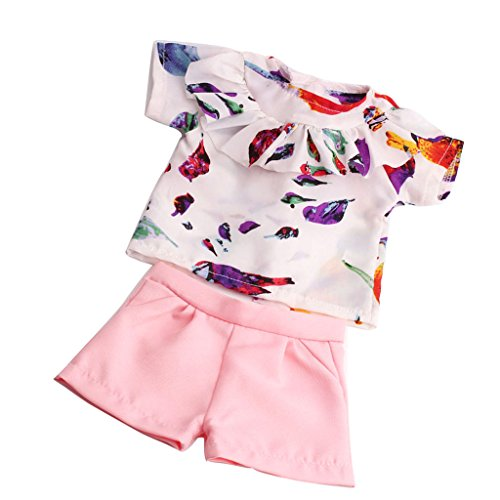 MagiDeal Süße Puppekleidung Set - Kurzärmelig T-shirt + Hosen - Puppe Outfit für 18 '' American Girl Puppe - C - American Shorts Set Girl Puppe