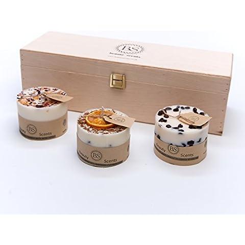 Beauty Scents 3 diverse piccole candele regalo in scatola di legno - Piccole Scatole Decorative