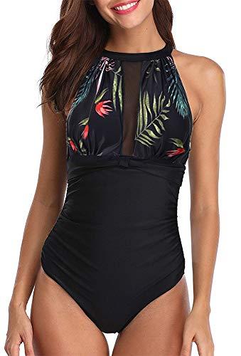 Leslady Badeanzug Schwimmanzug Damen Einteiler Schlankheits Raffung High Neck Bademode Strandmode