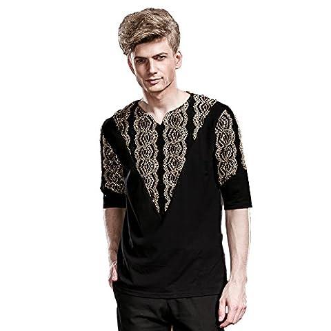 FANZHUAN T Shirt Col En V Homme T Shirt Slim Homme Imprimé Demi Manche