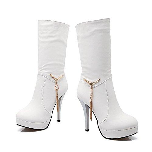 AllhqFashion Damen Rund Zehe Rein Niedrig-Spitze Hoher Absatz Stiefel mit Anhänger Weiß