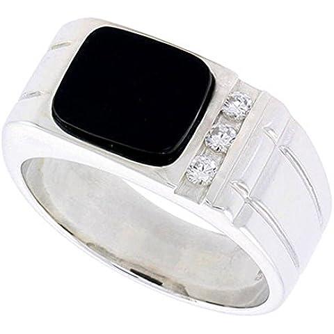 """Revoni-Collana in argento Sterling, forma rettangolare, colore: nero Onyx-Anello da uomo, con 2 scanalature, su ciascun lato & 3 zirconie cubiche, 3/20,32 (8 cm (10"""") mm di larghezza"""